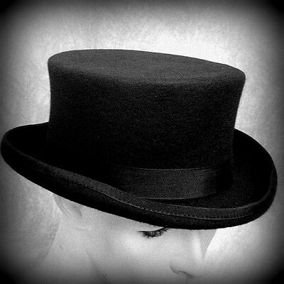 Old West Low Crown Topper Top Hat 100  Wool Felt Quality Hat Unisex S L