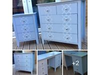 Painted M&S furniture set. Drawers, wardrobe, 2xbedside tables, dressing table