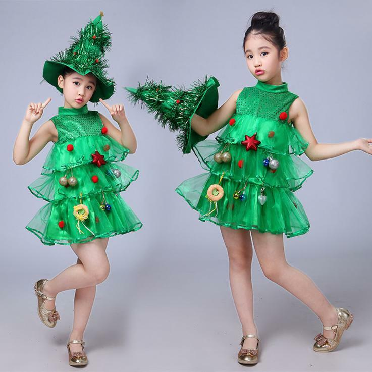 Christmas Tree Toddler Kids Baby Girls Costume Dress Tops Party Vest+Hat Outfits