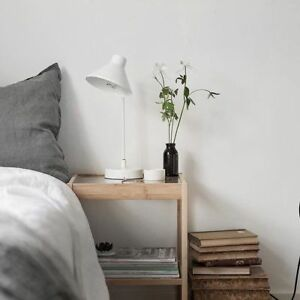 Ikea NESNA Bed Nightstand - Glass with Bamboo Side table