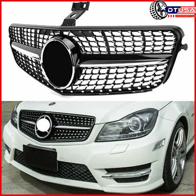BLACK DIAMOND Grill Grille For Mercedes-Benz C Class W204 C200 C250 C300 07-14