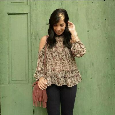 Zara Basic Off Cold Shoulder High Neck Floral Flowy Ruffle Blouse Top Sz M