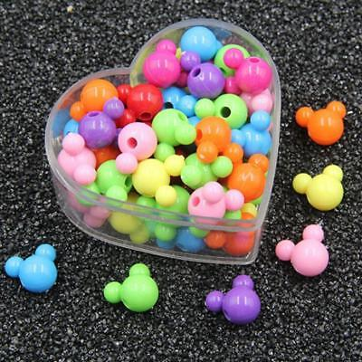 100X Mixed Color Acrylic Mickey Beads baby Pacifier clip necklace Accessories Color Beads Pacifier Clip