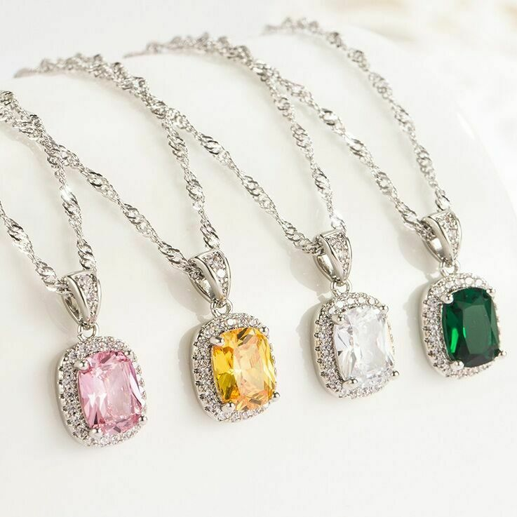 Jewellery - Crystal Square Pendant Chain Necklace 925 Sterling Silver Jewellery Gift UK