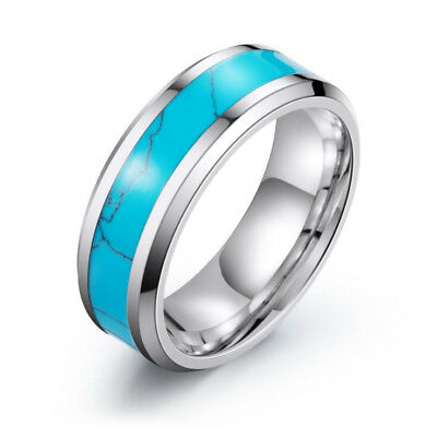 - Blue Turquoise Inlay Titanium Ring Fashion Wedding Band Rings for Men and Women