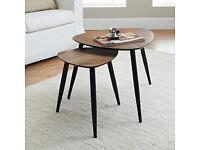 Elegant Retro-Style Walnut Nest of Tables - Brand New