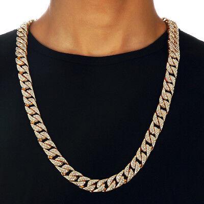 "Hip Hop Men Quavo Gold PT Iced Out 15mm 20"" Miami Cuban Choker Chain Necklace"