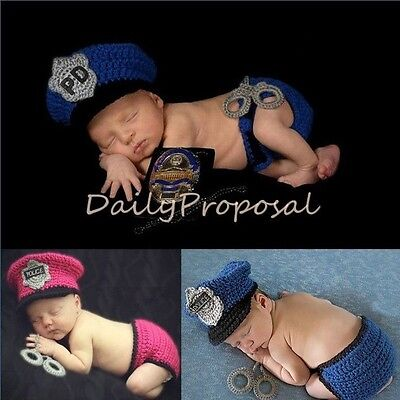 Police Girl Outfit (Cop Baby Police Handmade Newborn Girl Boy Crochet Knit Outfit Cap Photo Prop)