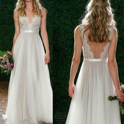 Backless Sexy Wedding Dress Bead Lace Long V-Neck Formal Bridal Gown Beach -