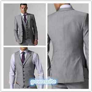 Custom Made Light Gray Mens Wedding Suits Groom Tuxedos Formal Occasion Suits