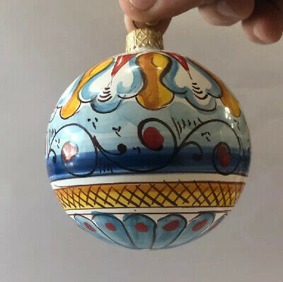 Vietri Pottery-4 Inch christmas ornaments.Made/Painted by hand in Italy ()