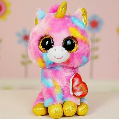 "6"" Cute Colorful Unicorn  TY Beanie Boos Plush Stuffed Toys Glitter Eyes"
