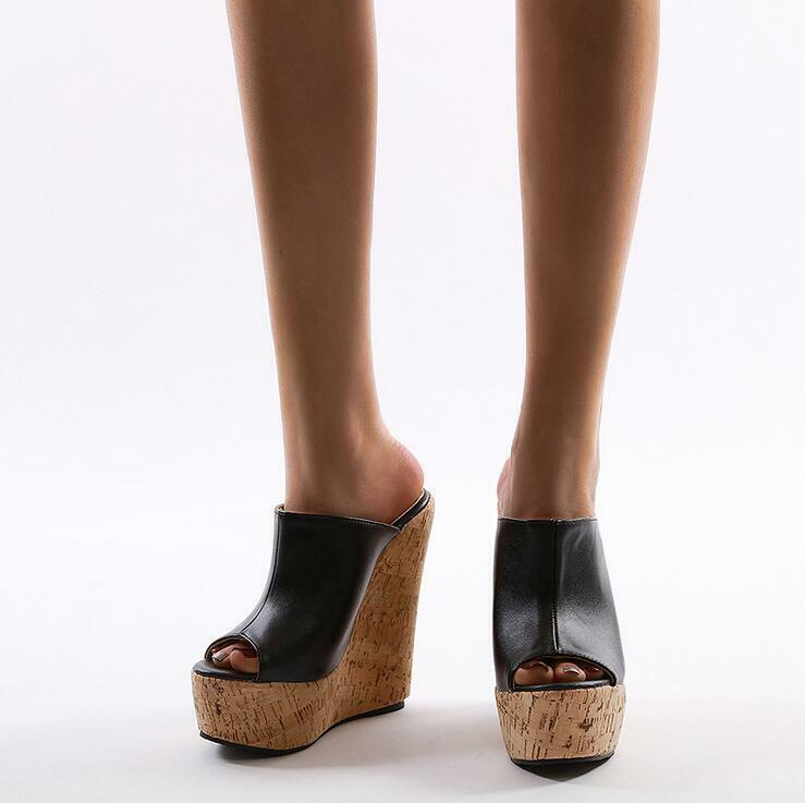 Damen Pantoletten Extreme High Heels Peeptoe Holz-Optik