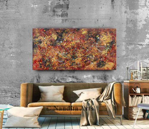 Jackson Pollock Style Colorful Framed Original Artwork Paintings on Canvas