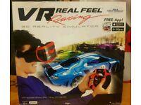 Virtual reality headset and steering wheel