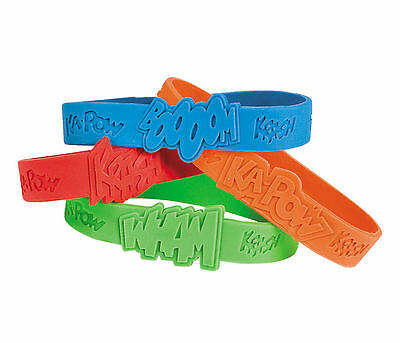 12 Superhero Sayings Rubber Bracelets Boy's Birthday Party Costume Favors TOYS - Superhero Sayings