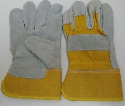 12 Pairs  Cow Split Leather Work Gloves Large Yellow