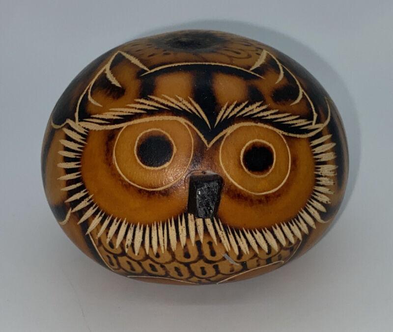 Hand Carved Peruvian Folk Art Gourd Owl Figurine Ornament Peru