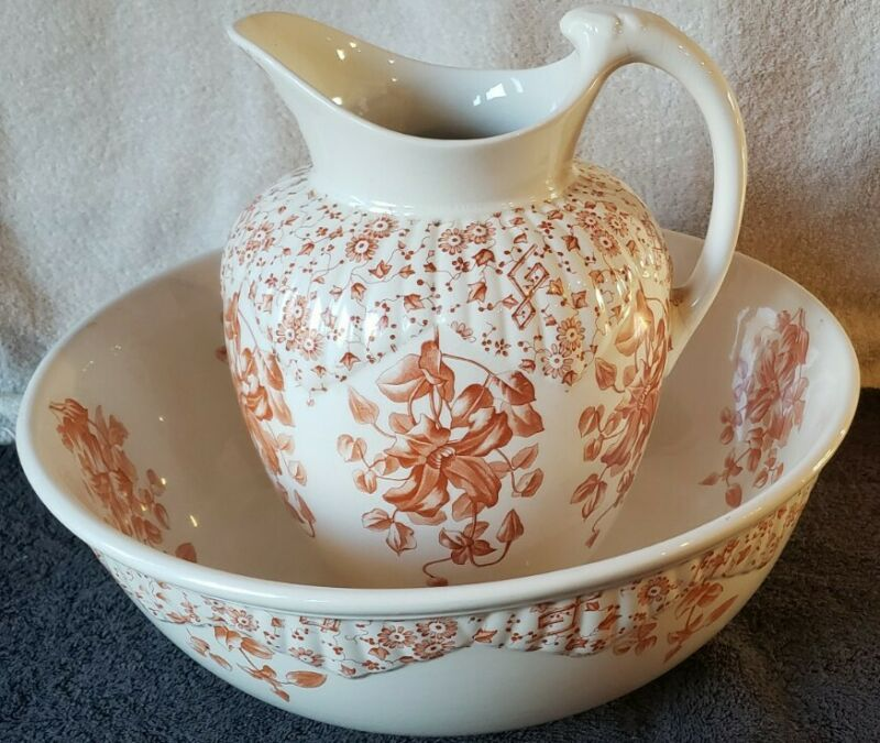 Beautiful Antique White/Orange Pitcher and Wash Basin Bowl Set VERY RARE