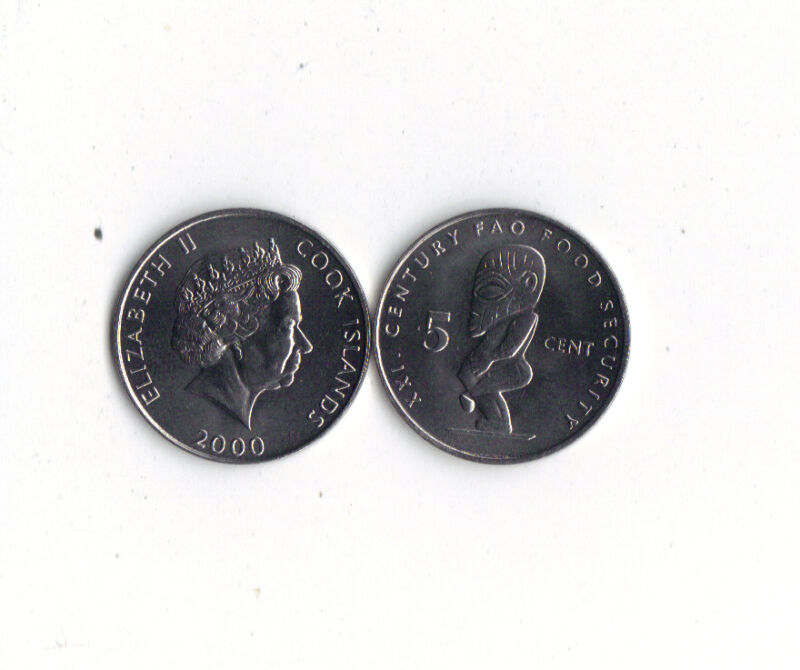 *WORLD FOREIGN COINS*COOK ISLANDS*5 CENTS 2000*STATUE OF TANGAROA* FAO * LOT O1