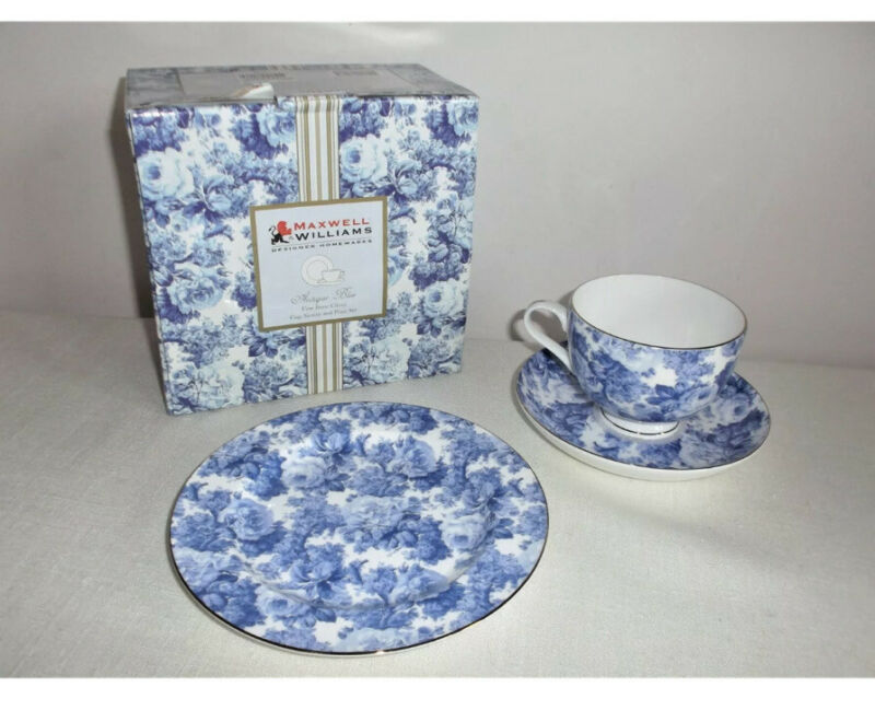 Maxwell+%26+Williams+Antique+Blue+Fine+Bone+China+Cup%2C+Saucer+%26+Plate+Set+Boxed