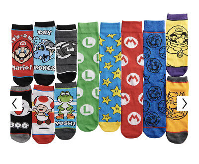 NEW Men's 12 Days of Socks Super Mario Brothers Nintendo Christmas Advent 6-12