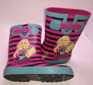 "Girls Size 12 ""Barbie"" Slip On  Rubber Boots"