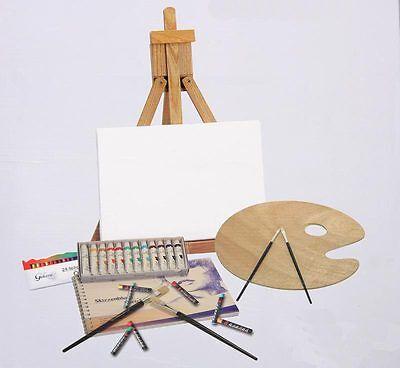 Malset Malerei-Set Ölfarben|Staffelei|Pinsel