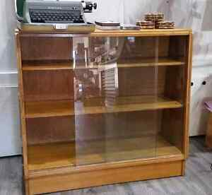 Teak Display Case with Sliding Glass doors
