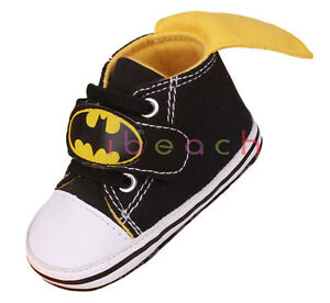 Soft Sole Baby Boy Black Batman Pram Shoes Trainers Size 0