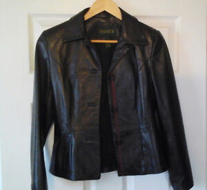 Leather jacket and skirt, Danier, new condition