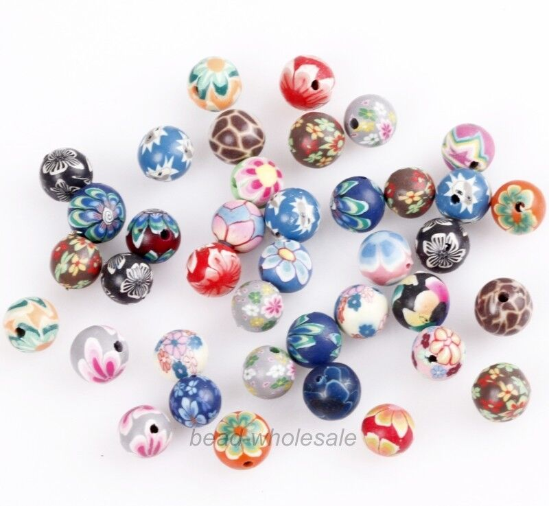 lots 40pcs mixed polymer clay fimo flower pattern