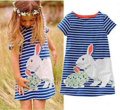Baby Kinder Mädchen Kaninchen Gestreift Kleid Kurzarm Sommerkleid Freizeitkleid