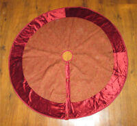 Burgundy Tree Skirt with Gold Paisley Accents