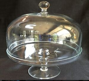Clear-Round-Glass-Pedestal-Cake-Plate - glass dome