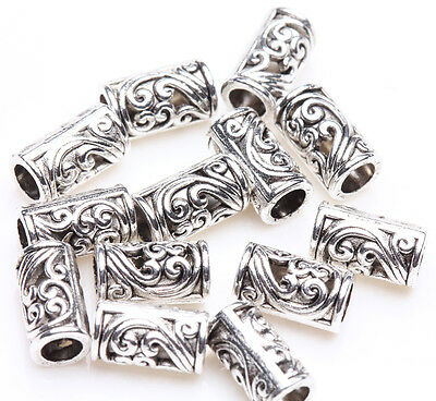 - 25pcs Tibetan Silver Tube Charm Loose Spacer Bead Bracelet Jewelry Finding 8x5mm