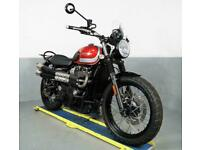 2017 Triumph Bonneville Street Scrambler 900 cc 1 owner,8k,engine bars,rack