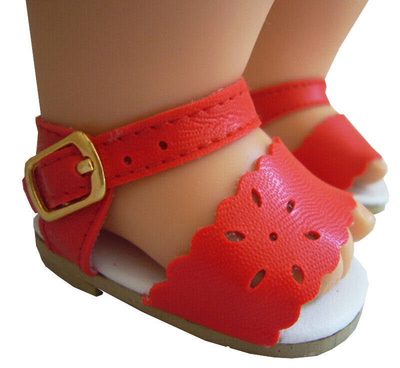 Red Scalloped Sandals Shoes for Bitty Baby Doll Clothes 2 5/8 x 1 1/2 inches 1