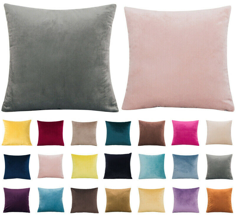 "Home Decoration - 16"" 18"" 20"" 22"" 24"" Velvet Plain Cushion Cover Pillow Case Home Sofa Decor UK"
