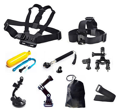 9in1 Head Chest Monopod Pole Mount Accessories For GoPro Hero 2 3 4 5 Camera