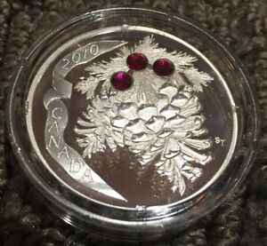 RCM 2010 $20 Silver Coin - Holiday Pine Cones (Ruby)