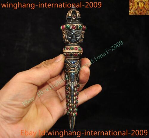 Old Tibet Buddhism lapis lazuli inlay jade gem Mahakala Vajra Phurpa Dagger Faqi