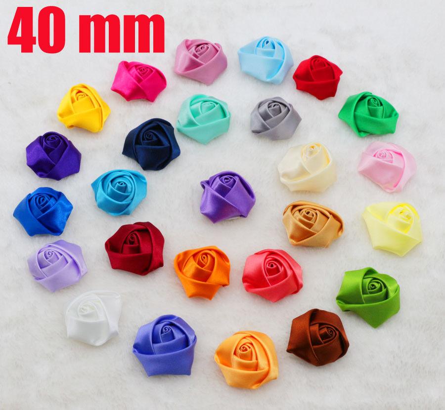 40mm diy 5pcs hummus rose satin ribbon flower applique for Wedding craft supplies
