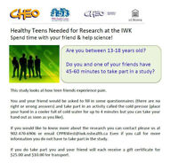 Healthy Teens Needed for Research at the IWK!