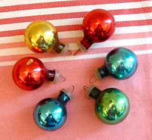 Ensemble de 6 anciennes boules de Noël miniatures en verre #N18