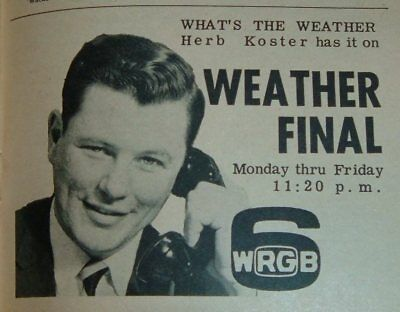 1962 Wrgb Tv News Ad Herb Koster Weather Schenectady New York Channel 6