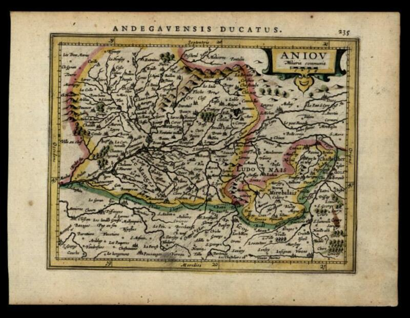 Duchy of Anjou France 1628 engraved miniature Mercator map