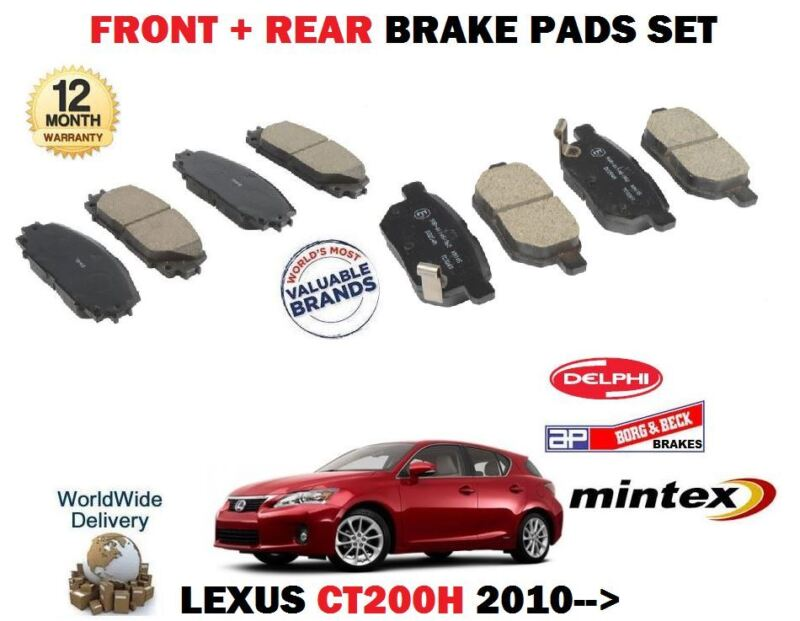 FOR LEXUS CT200H 1.8 HYBRID 2010-> NEW FRONT + REAR BRAKE DISC PADS SET