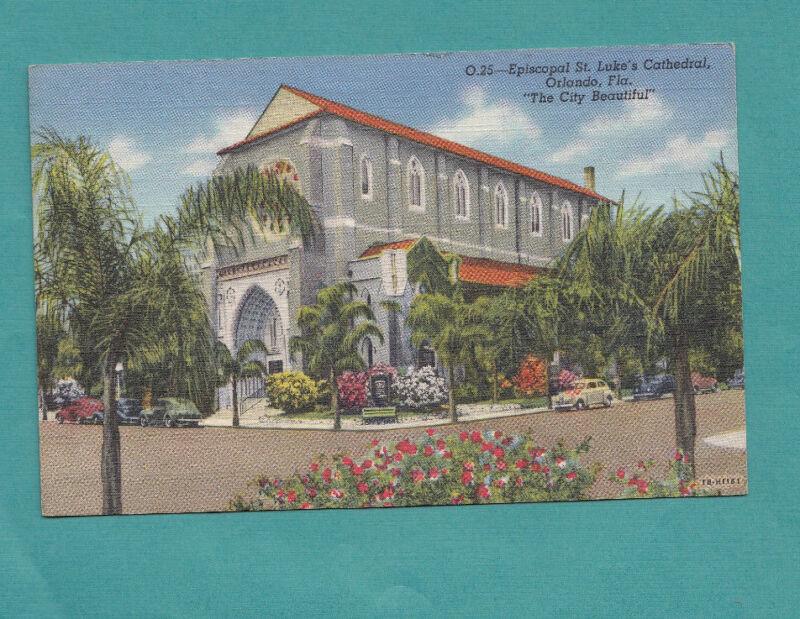 Episcopal St. Luke's Cathedral Orlando Fl Vintage Linen Postcard  Post Card