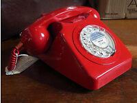 AUTHENTIC GPO ISSUE 1962 COLLECTABLE TELEPHONE IN RED, RESTORED & READY TO PLUG & GO! vintage old